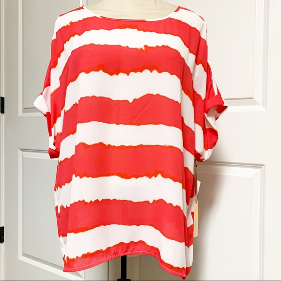 Gibson Latimer Tops - Coral Red White Strip Dolman Oversized Tunic M